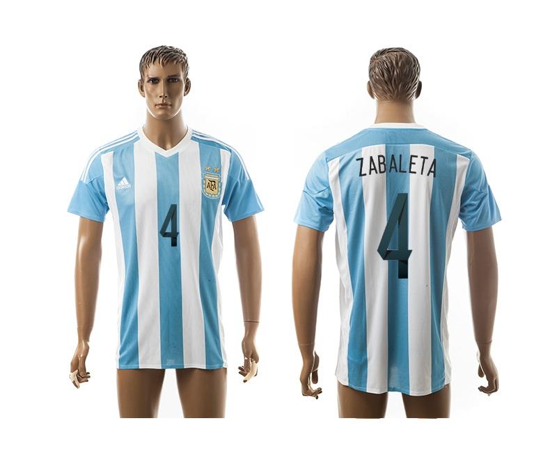 2015 AAA+ Argentina 4 ZABALETA Home Soccer Jersey