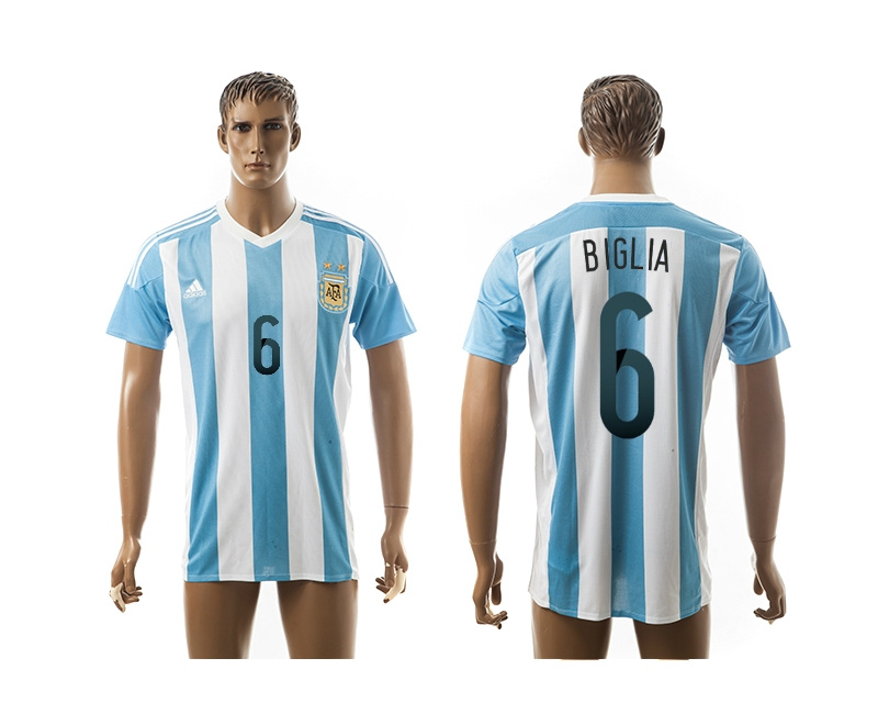 2015 AAA+ Argentina 6 BIGLIA Home Soccer Jersey
