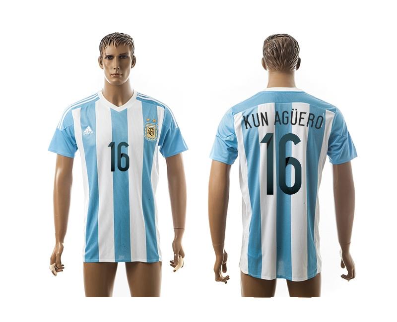 2015 AAA+ Argentina 16 KUN AGUERO Home Soccer Jersey