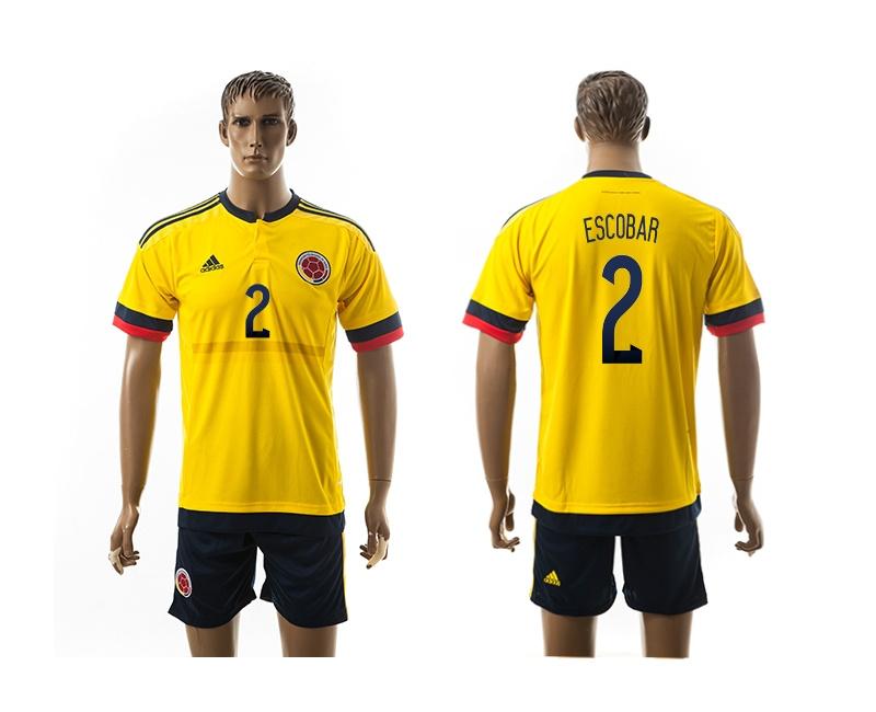 2015 Columbia 2 ESCOBAR Home Yellow Soccer Jerseys