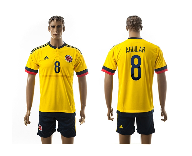 2015 Columbia 8 AGUILAR Home Yellow Soccer Jerseys