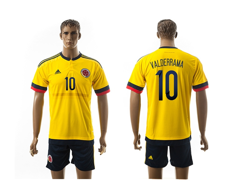2015 Columbia 10 VALDERRAMA Home Yellow Soccer Jerseys