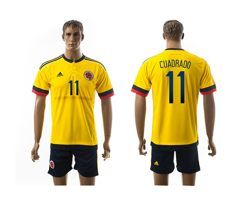 2015 Columbia 11 CUADRADO Home Yellow Soccer Jerseys