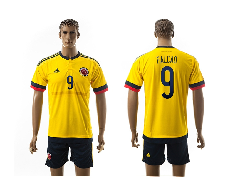 2015 Columbia 9 FALCAO Home Yellow Soccer Jerseys