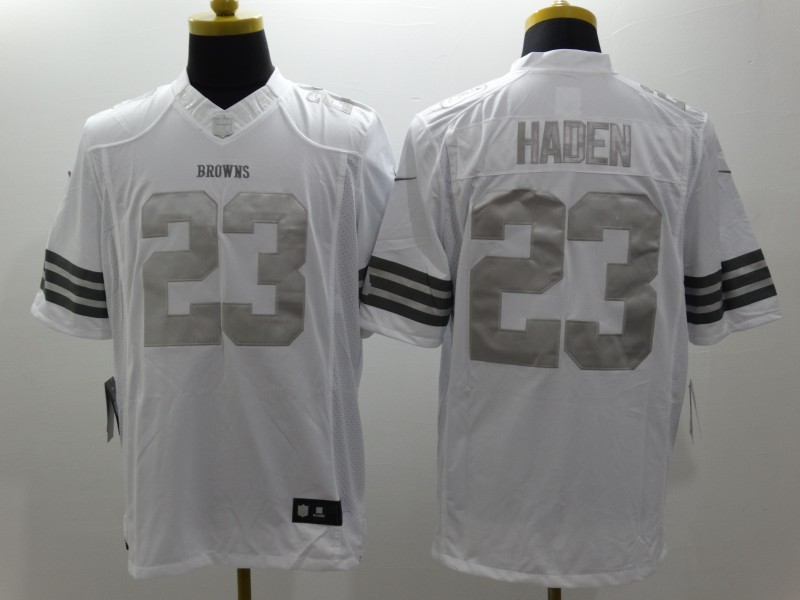 Cleveland Browns 23 Haden Platinum White NFL 2014 New Nike Limited Jerseys