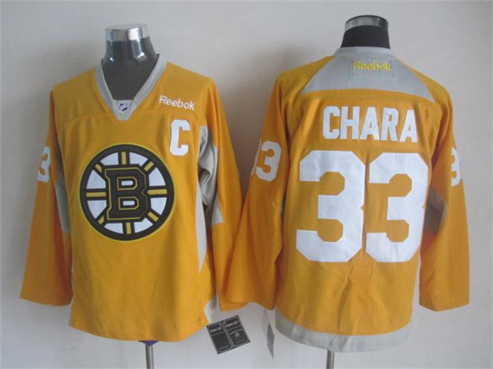 NHL Boston Bruins 33 chara yellow 2015 Practice Jersey