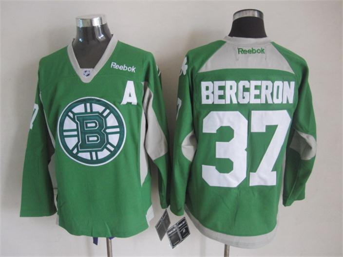 NHL Boston Bruins 37 bergeron green New 2015 Practice Jersey