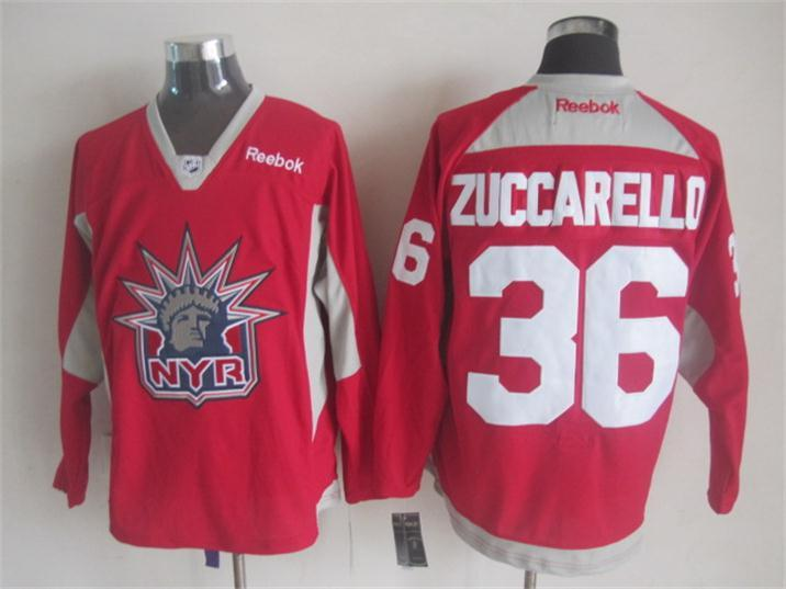 NHL New York Rangers 36 Zuccarello red 2015 Practice Jersey
