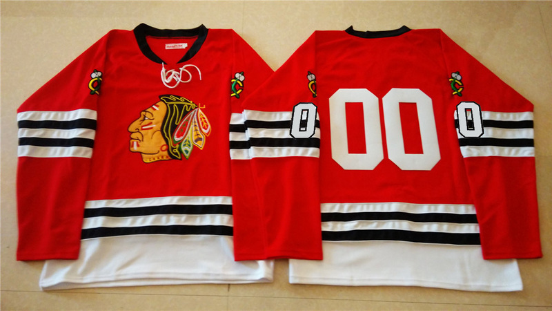NHL Chicago Blackhawks 00 red 2015 Throwback No Name Jersey