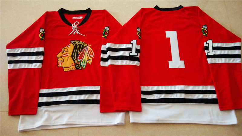 NHL Chicago Blackhawks 1 red 2015 Throwback No Name Jersey