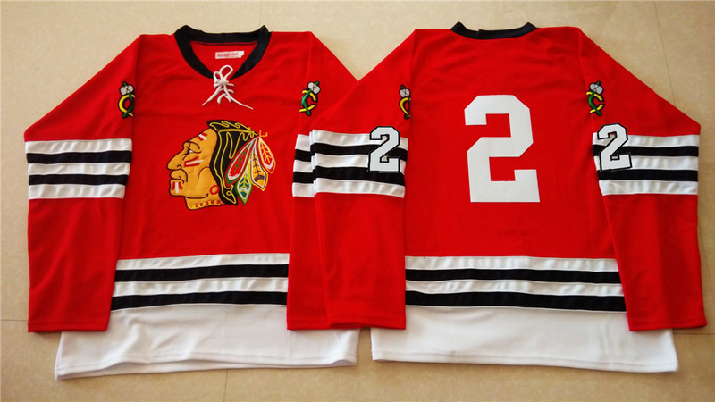 NHL Chicago Blackhawks 2 red 2015 Throwback No Name Jersey