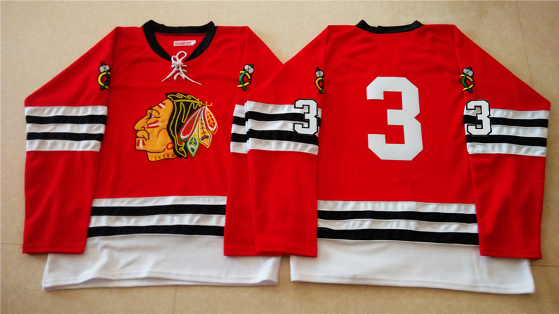 NHL Chicago Blackhawks 3 red 2015 Throwback No Name Jersey