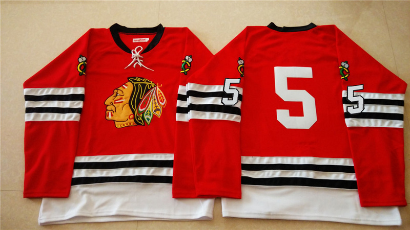 NHL Chicago Blackhawks 5 red 2015 Throwback No Name Jersey
