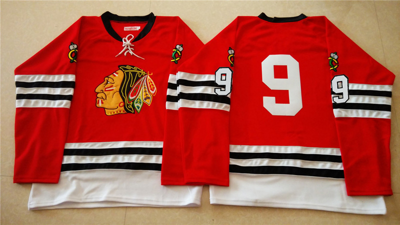 NHL Chicago Blackhawks 9 red 2015 Throwback No Name Jersey