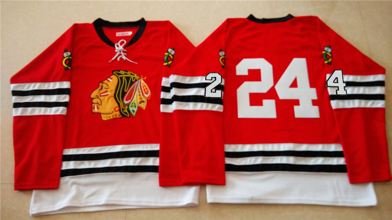 NHL Chicago Blackhawks 24 red 2015 Throwback No Name Jersey