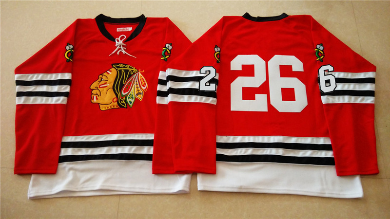 NHL Chicago Blackhawks 26 red 2015 Throwback No Name Jersey