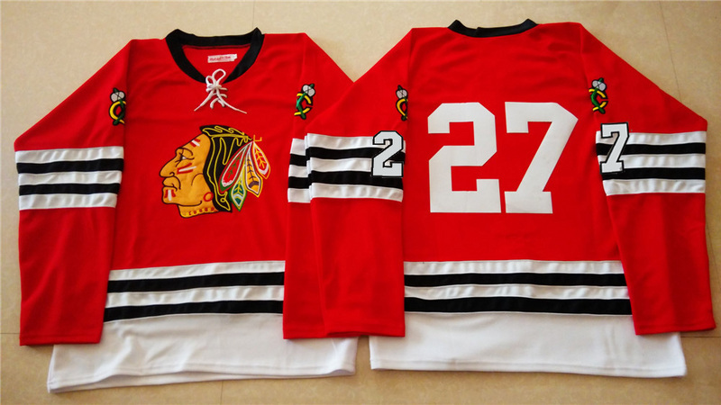 NHL Chicago Blackhawks 27 red 2015 Throwback No Name Jersey