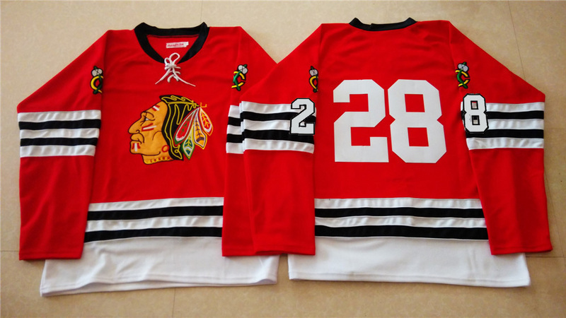 NHL Chicago Blackhawks 28 red 2015 Throwback No Name Jersey