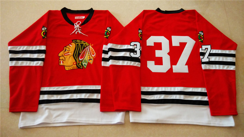 NHL Chicago Blackhawks 37 red 2015 Throwback No Name Jersey