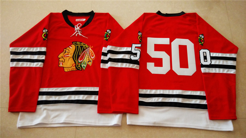 NHL Chicago Blackhawks 50 red 2015 Throwback No Name Jersey