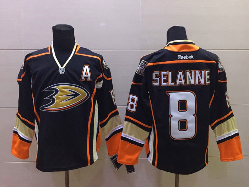 NHL Anaheim Ducks 8 selanne black Third 2015 Jersey