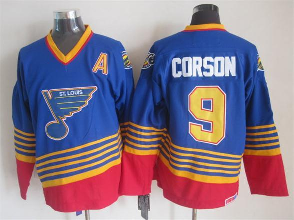 NHL St. Louis Blues 9 corson blue CCM Throwback Jersey