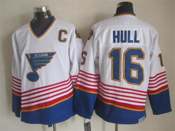 NHL St. Louis Blues 16 hull white CCM Throwback Jersey