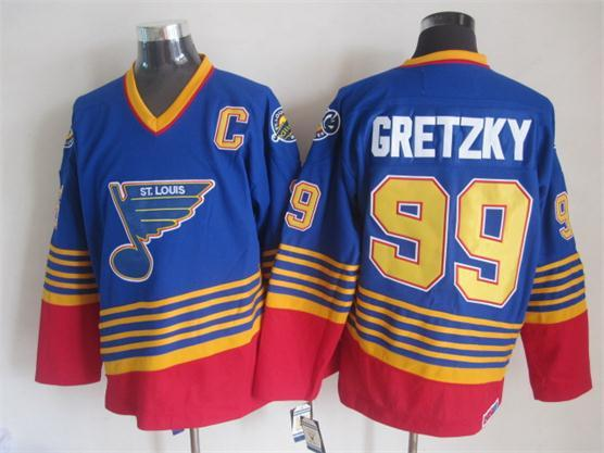 NHL St. Louis Blues 99 gretzky blue CCM Throwback Jersey