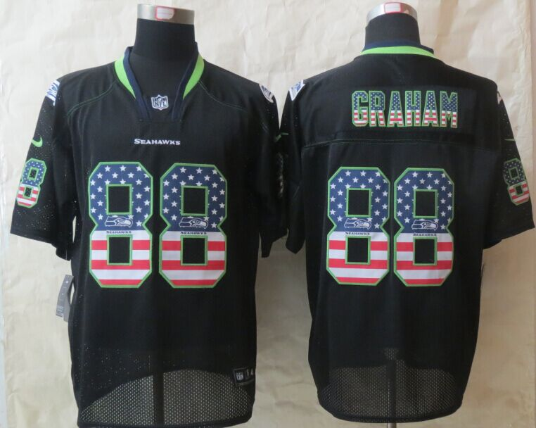Seattle Seahawks 88 Graham USA Flag Fashion Black 2015 New Nike Elite Jerseys