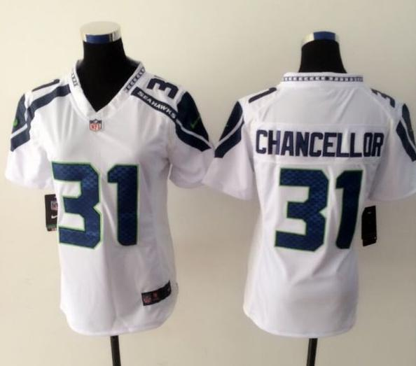 Womens Seattle Seahawks 31 chancellor white 2015 nike New Players Jersey