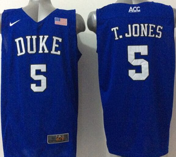 NCAA NBA Duke Blue Devils 5 T.Jones Blue 2015 Jerseys