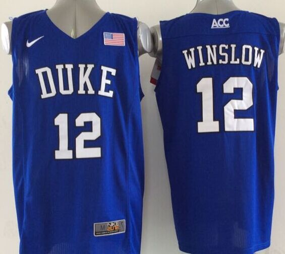 NCAA NBA Duke Blue Devils 12 Winslow Blue 1 2015 Jerseys