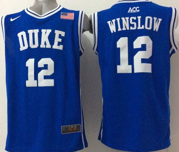 NCAA NBA Duke Blue Devils 12 Winslow Blue 2015 Jerseys