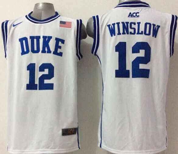 NCAA NBA Duke Blue Devils 12 Winslow White 2015 Jerseys