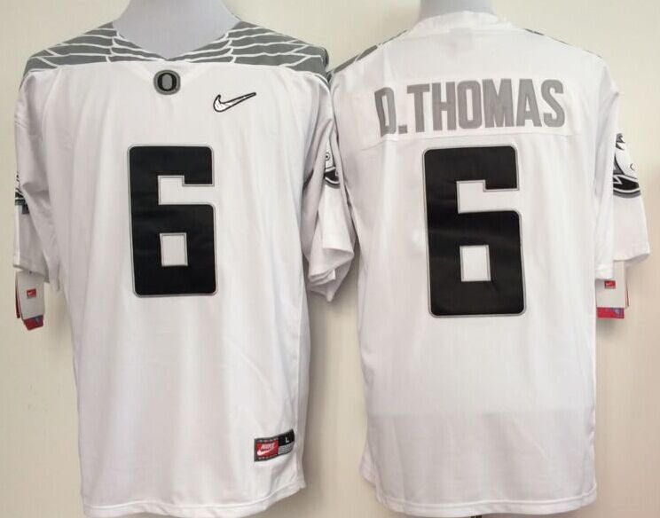 NCAA Oregon Ducks 6 thoma white 2015 Jerseys
