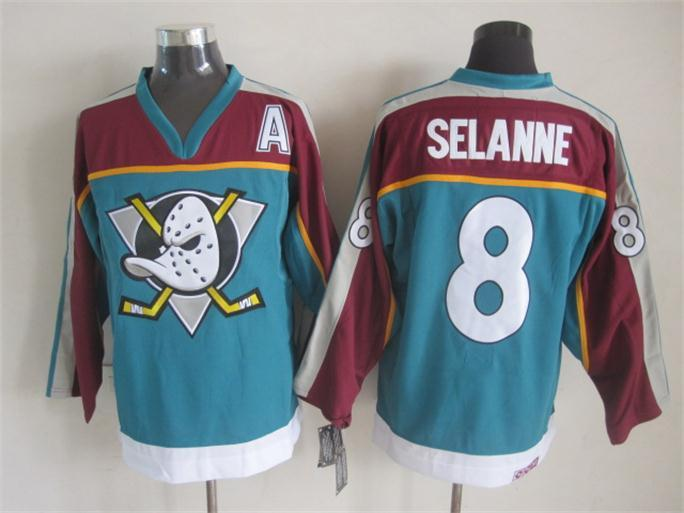 NHL Anaheim Ducks 8 selanne blue Throwback Jersey