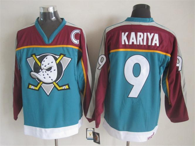 NHL Anaheim Ducks 9 kariya blue Throwback Jersey