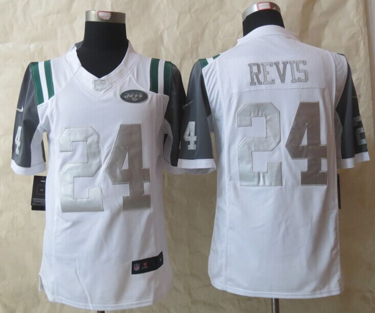 New York Jets 24 Revis Platinum White 2015 New Nike Limited Jerseys