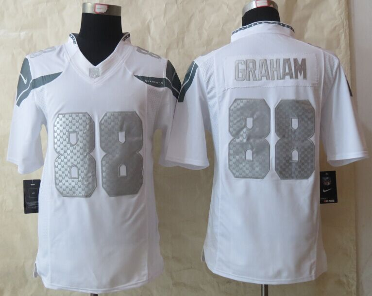 Seattle Seahawks 88 Graham Platinum White 2015 New Nike Limited Jerseys