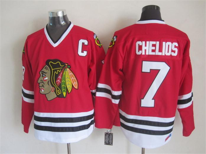 NHL Chicago Blackhawks 7 chelios Red CCM Throwback Jersey
