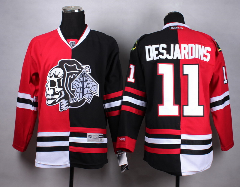 NHL Chicago Blackhawks 11 Desjardins black red Split white Skull Jersey