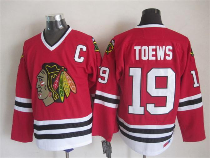 NHL Chicago Blackhawks 19 toews Red CCM Throwback Jersey