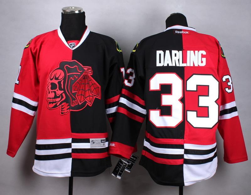NHL Chicago Blackhawks 33 darling black red Split Red Skull Jersey