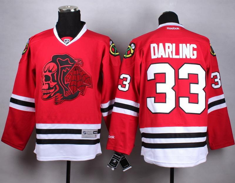 NHL Chicago Blackhawks 33 darling Red Skull Jersey