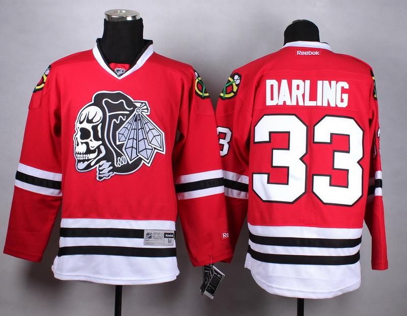 NHL Chicago Blackhawks 33 darling Red white Skull Jersey