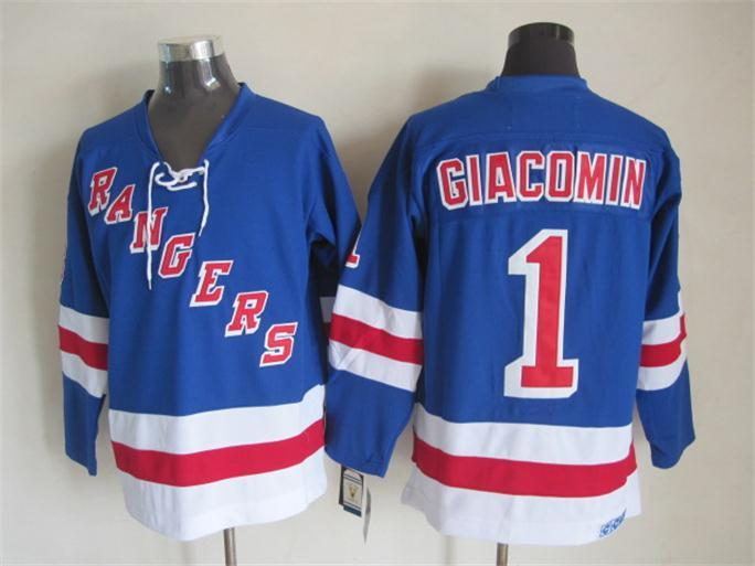 NHL New York Rangers 1 giacomin blue Jersey