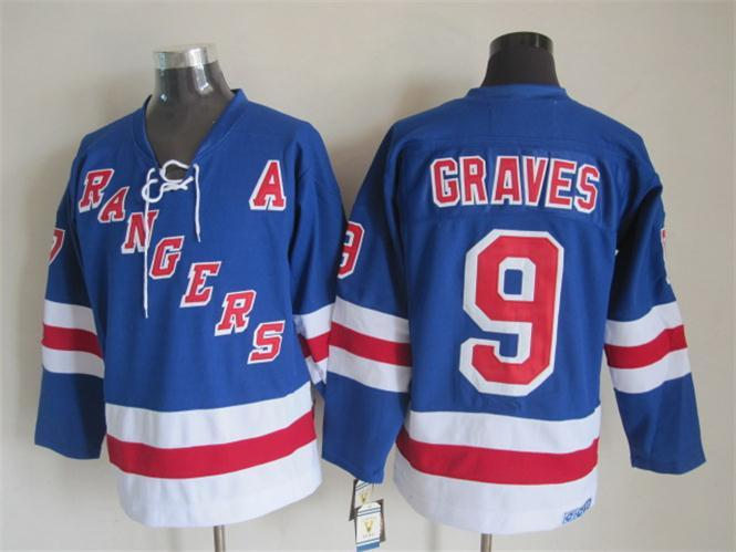 NHL New York Rangers 9 graves blue Jersey