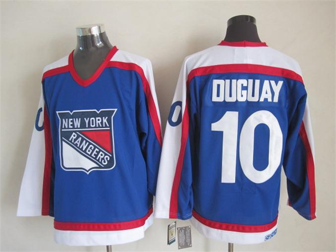 NHL New York Rangers 10 duguay Blue White CCM Throwback Jersey