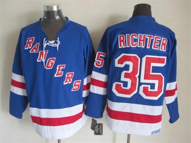 NHL New York Rangers 35 richter blue Jersey