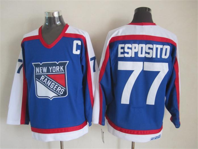NHL New York Rangers 77 Esposito Blue White CCM Throwback Jersey